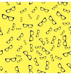 Seamless sunglass pattern on yellow background vector image