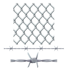 Seamless tiling fence and barbed wire vector