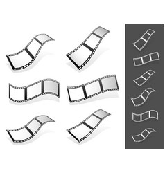 Set of 3d filmstrips with gray fillings with vector