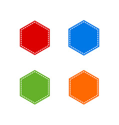 set of colorful stitched hexagon shape vector image