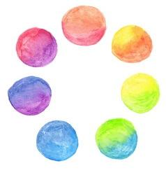 set rainbow watercolor circles vector image