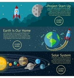 Set space banners concepts - rocket start up vector