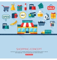 Shopping concept background with place for text vector image