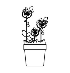 Silhouette roses planted with leaves in flowerpot vector