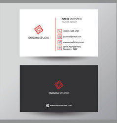 Simple red and black corporate business card vector