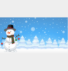 Snowman in the winter background vector