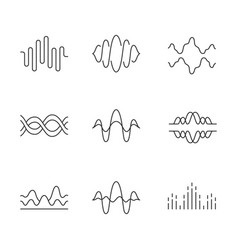 Sound and audio waves linear icons set voice vector