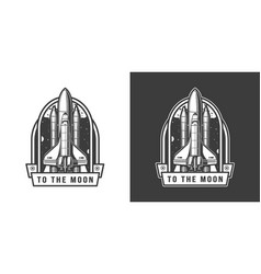 space shuttle flying to moon emblem vector image