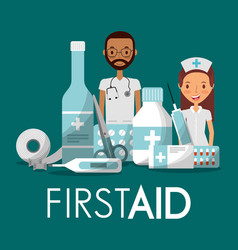 staff medical man woman first aid with medicine vector image