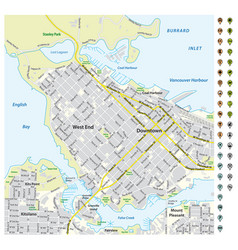 Street map downtown vancouver with pin pointers vector
