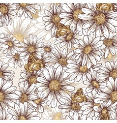 Summer floral pattern with daisies vector