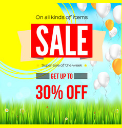 Summer selling ad banner with an inflatable vector
