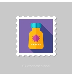 Sunscreen flat stamp with long shadow vector image