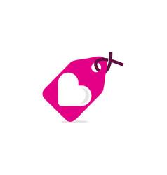 Tag love logo icon design vector