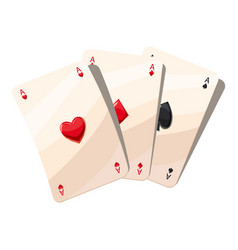 Three aces playing cards icon cartoon style vector