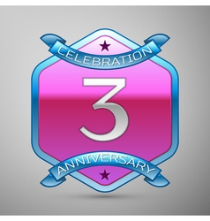 Three years anniversary celebration silver logo vector image