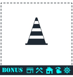 Traffic cone icon flat vector