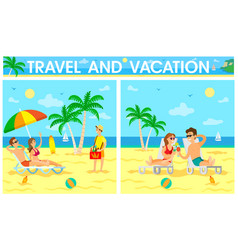 travel and vacation poster with travelers set vector image