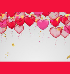 valentines day banner template heart balloons vector image