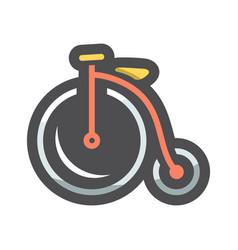 vintage old bicycle icon cartoon vector image
