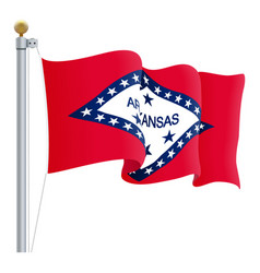 waving arkansas flag isolated on a white vector image