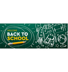 Welcome back to school horizontal banner doodle vector