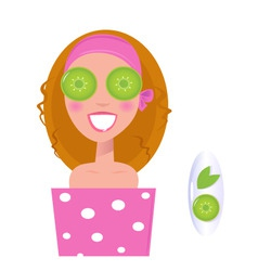 wellness girl with cucumber vector image