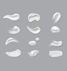 white cosmetic brush strokes isolated makeup vector image