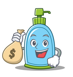 with money bag liquid soap character cartoon vector image