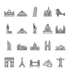 world landmarks outline icon set vector image