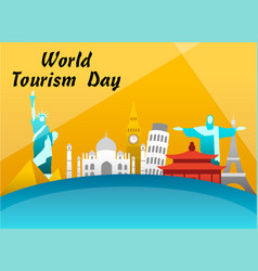 World tourism day greeting card vector