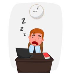 businessman sleeping on work table cartoon vector image vector image