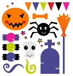 Cute various design elements for Halloween vector image vector image
