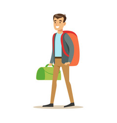 happy young man traveler standing with backpack vector image vector image
