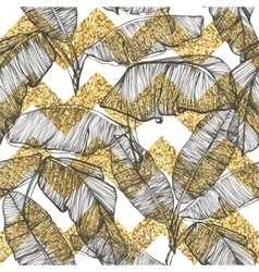 Palm leaves on golden glitter chevron background vector image vector image