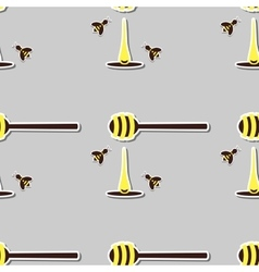 Spoon With Honey And Bees vector image