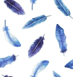 Watercolor feather seamless pattern vector image vector image