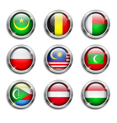 World flags round buttons vector image vector image