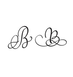 art calligraphy letter b with flourish of vintage vector image