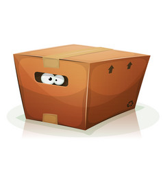 eyes inside cardboard box vector image vector image
