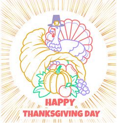 greeting card thanksgiving day cornucopia vector image vector image