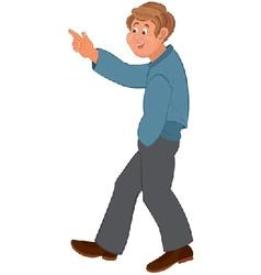 Happy cartoon man walking and pointing vector