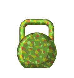 Kettlebell green camouflage military gift for men vector