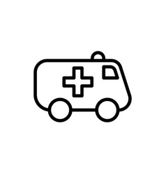 line ambulance icon on white background vector image