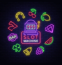 slot machine is a neon sign collection of neon vector image