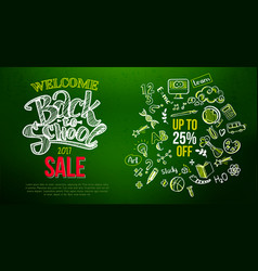 back to school sale lettering on green vector image vector image