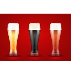 Beer glass with three brands vector image
