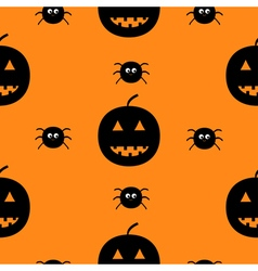 Black silhouette funny smiling pumpkins and spider vector image