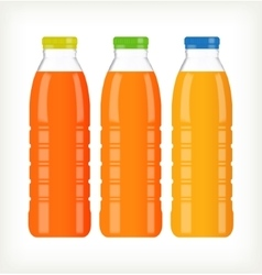 Bottles with juice isolated on white vector image