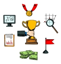 Business achievement and success icons vector
